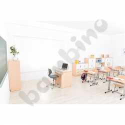 Quadro - biurko z szeroką szufladą - białe, w klonowej skrzyni