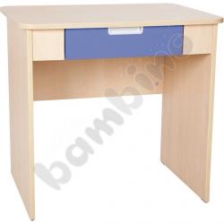 Quadro - biurko z szeroką szufladą - niebieskie, w klonowej skrzyni