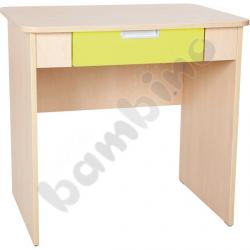 Quadro - biurko z szeroką szufladą - limonkowe, w klonowej skrzyni