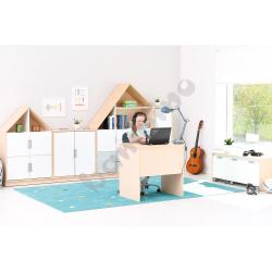 Quadro - biurka z szeroką szufladą, w klonowej skrzyni