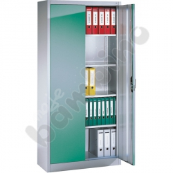 Szafa metalowa dwudrzwiowa z zielonymi drzwiami