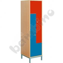 Szafa ubraniowa L z 2 schowkami - drzwi niebiesko-czerwone