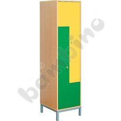 Szafa ubraniowa L z 2 schowkami i drzwiami zielono-żółtymi