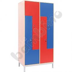 Szafa ubraniowa L z 4 schowkami i drzwiami niebiesko-czerwonymi