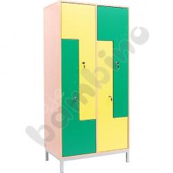 Szafa ubraniowa L z 4 schowkami i drzwiami żółto-zielonymi