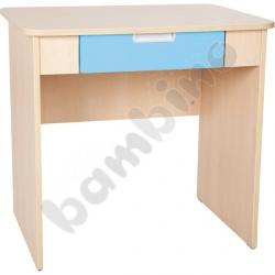 Quadro - biurko z szeroką szufladą - błękitne, w klonowej skrzyni