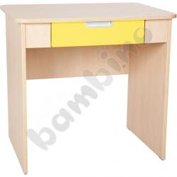 Quadro - biurko z szeroką szufladą - żółte, w klonowej skrzyni