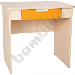Quadro - biurko z szeroką szufladą - pomarańczowe, w klonowej skrzyni