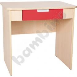 Quadro - biurko z szeroką szufladą - czerwone, w klonowej skrzyni