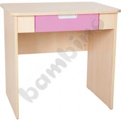 Quadro - biurko z szeroką szufladą - jasnoróżowe, w klonowej skrzyni