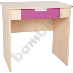 Quadro - biurko z szeroką szufladą - ciemnoróżowe, w klonowej skrzyni
