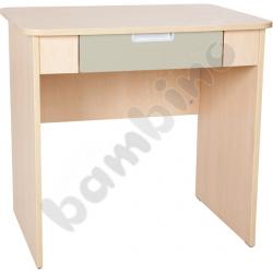 Quadro - biurko z szeroką szufladą - beżowe, w klonowej skrzyni