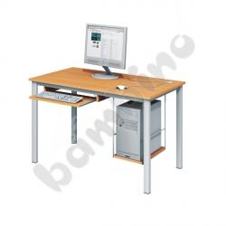Stolik komputerowy LUX PLUS z półką na komputer i szufladą na klawiaturę - buk