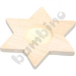 Drewniany świecznik na podgrzewacze - gwiazdka